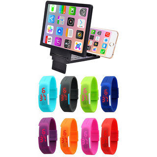 Snaptic 3D Folding Mobile Phone HD Screen Magnifier with LED Jelly Watch