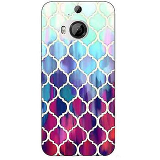 Enhance Your Phone White Red Blue Moroccan Tiles Pattern Back Cover Case For HTC M9 Plus E680300