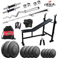 Dock 32Kg Home Gym + 14 Dumbbells +3 In 1(I/D/F) Bench + 2 Rods + Gym Belt + Gym Backpack Assorted + Accessories DR-32KGCOMBO5