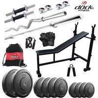 Dock 40Kg Home Gym + 14 Dumbbells + 2 Rods + 3 In 1 (I/D/F)Bench + Gym Backpack Assorted + Accessories DR-40KGCOMBO5
