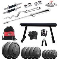 Dock 25Kg Home Gym + 14 Dumbbells + Flat Bench + 2 Rods + Gym Backpack Assorted + Accessories DR-25KGCOMBO7