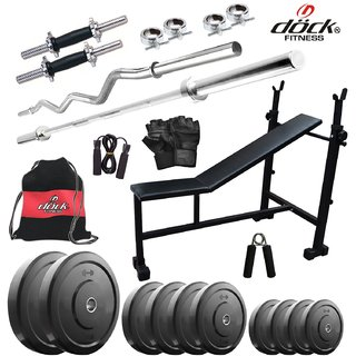 Dock 45Kg Home Gym + 14 Dumbbells + 2 Rods + 3 In 1 (I/D/F)Bench + Gym Backpack Assorted + Accessories DR-45KGCOMBO5
