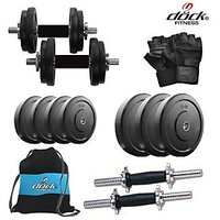 Dock 10 Kg Rubber Weight +14 Dumbbell Rods + Gym Backpack Assorted + Accessories DB-10KGDMCOMBO3