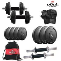Dock 16 Kg Rubber Weight +14 Dumbbell Rods + Gym Backpack Assorted + Accessories DR-16KGDMCOMBO3
