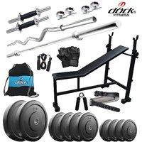 Dock 40Kg Home Gym + 14 Dumbbells + 2 Rods + 3 In 1 (I/D/F)Bench +Gym Belt + Gym Backpack Assorted + Accessories DB-40KGCOMBO6