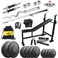 Dock 100Kg Home Gym + 14 Dumbbells + 2 Rods + 3 In 1 (I/D/F) Bench+ Gym Backpack Assorted +Gym Belt Accessories DY-100KGCOMBO6