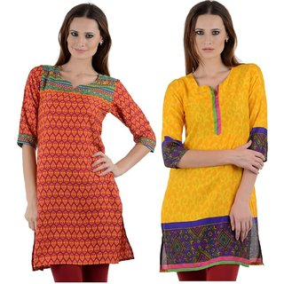Ambitione Orange and Yellow Kurti ComboL