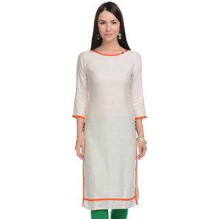 Lavennder Women White Khadi Casual Kurti 623383