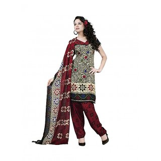 Varsha 3 Piece Printed Synthetic Georgett Dress Material