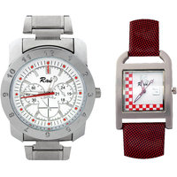 Raux White And Red Dial Analog Watch For Pair RX-049067
