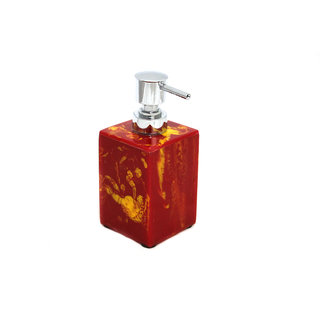 Opulent Homes red and yellow soap dispenser