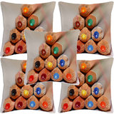 Krayon Vine Arts Digital Print Cushion Cover Set Of 5 Crayon Arts