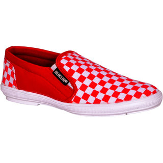 Sukun Red White Casual Shoes For Men (CHSRDWT)