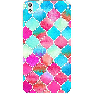 Enhance Your Phone Blue Pink Moroccan Tiles Pattern Back Cover Case For HTC Desire 816G