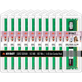 Hynet Desktop DDR2 SDRAM512 MB 667 MHZ (Combo Pack of 10)