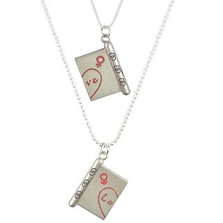 Diovanni Silver Book Of Love  Couple Pendants