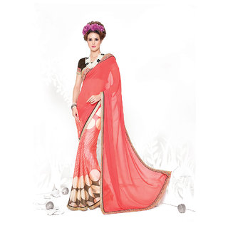 Thankar online trading Peach Georgette, Chiffon Embroidered Saree With Blouse