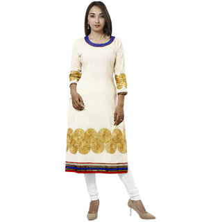 Siya Embroidered Cream Cotton Jute Ethnic Wear Womens Kurti160L