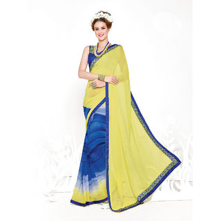 Thankar Lemon And Blue Heavy Georgette Designer Saree