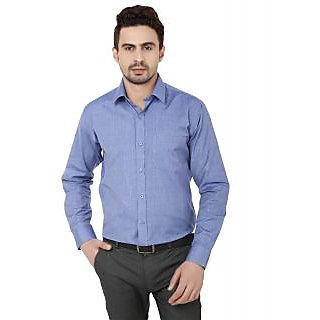 Hankcock Cotton Blue Men Full Sleeves Formal Shirts (1089blue)