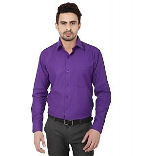 Hankcock Cotton Purple Men Full Sleeves Formal Shirts (1133Purple)