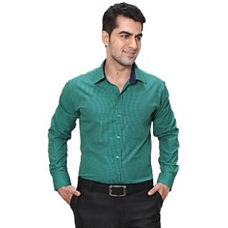Hankcock Cotton Green Men Full Sleeves Formal Shirts (9256Green)