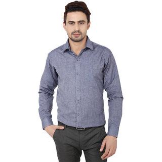 Hankcock Cotton Navy Blue Men Full Sleeves Formal Shirts (1089navy)