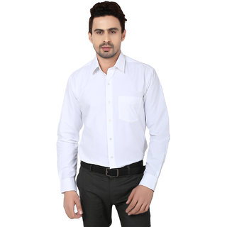 Hankcock Cotton White Men Full Sleeves Formal Shirts (1133White)