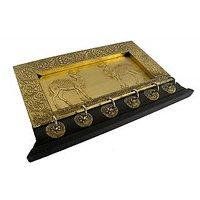 Indian Hand Made Wooden Brass Key Hanger  - Option 2