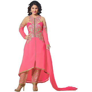 Lovely Look BeigePink Embroidered Un-Stitched Flare Suit LLKRSFKN253