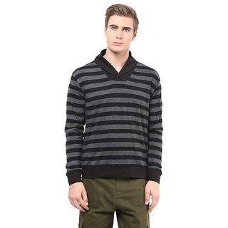 Hypernation Shawl Collar Black With Grey Body With Black Collar And Cuff Cotton Tshirt