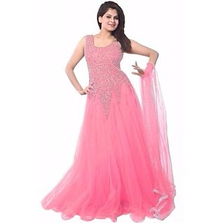 Aaina Pink Net Embroidered Gown (GW-11)