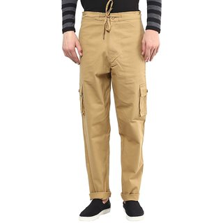Hypernation Cargo Pant With Drawstring On Waist Khaki Cotton