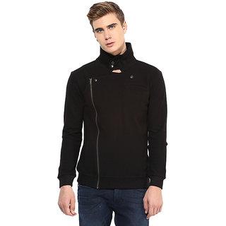 Hypernation Black Side Zipper Jacket With Cotton For Men