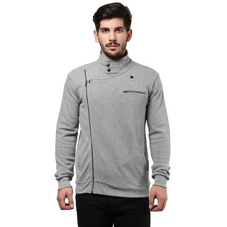 Hypernation Grey Collar With Side Zipper Biker Jacket Cotton