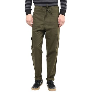 Hypernation Cargo Pant With Drawstring On Waist Military Gree Cotton