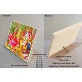 "Lakshmi And Ganesha Print On Marble Stone - Sized 8""x6"""
