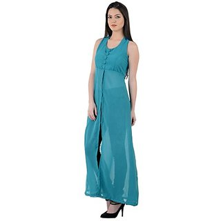 Westchic Rama Green Front Open Long Dress