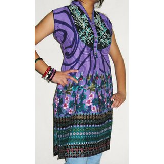1223 XL Cotton Printed Purple Embroidered Neckline  Kurti