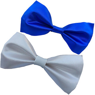 Wholesome Deal white and royal blue neck bow tie (Pack of two)