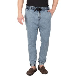 Hypernation Blue Denim Elasticated Waist And Bottom Cotton Jeans