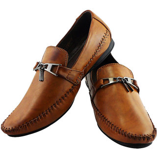 Elvace Tan Keylock Loafer Men Shoes-6020
