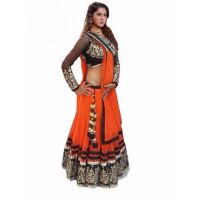 Janasya Orange Net Lehenga Choli