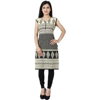 Visach Womens Cotton Sleeveless Printed Black Kurti-S