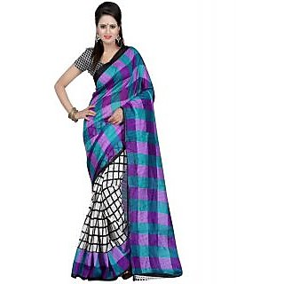 Fabplus Multi color bhagalpuri silk saree with blouse piece