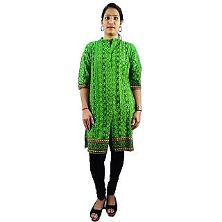 ShopMore Green Color Printed Long Kurta With Front Cut