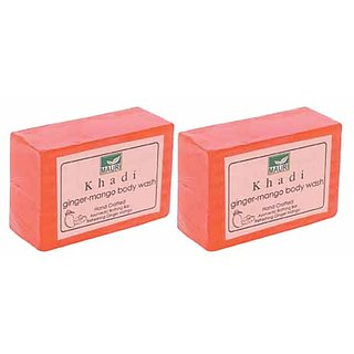 Khadi Mauri Ginger Mango Soap - Pack of 2 - Premium Handcrafted Herbal