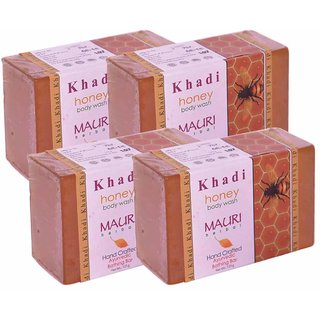 Khadi Mauri Honey Soap - Pack of 4 - Premium Handcrafted Herbal