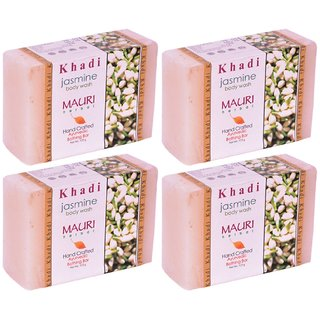Khadi Mauri Jasmine Soap - Pack of 4 - Premium Handcrafted Herbal