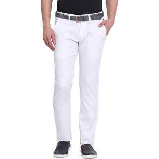 Virtue Men White Casual Slim Fit Trouser (VRT98STR-CT)